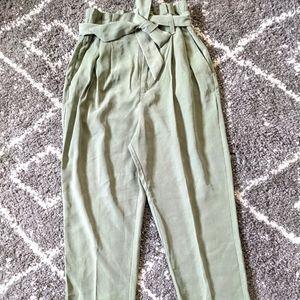 Saje colored high waist paper bag pants